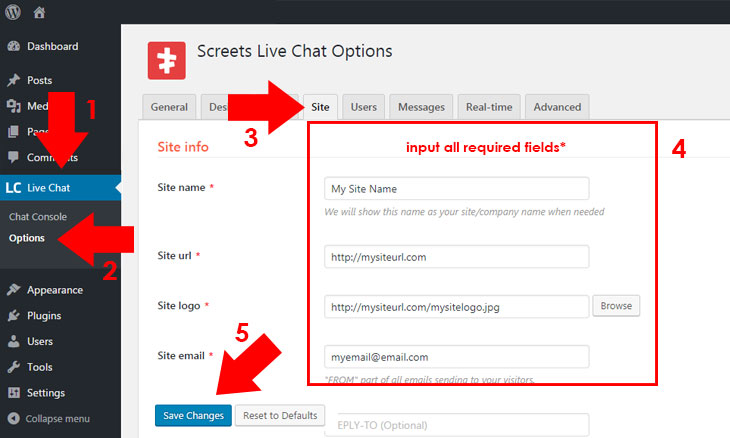 Live Chat Configure Site